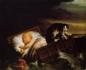 The-Inundation-of-The-Biesbosch-in-1421 cat on the cradle